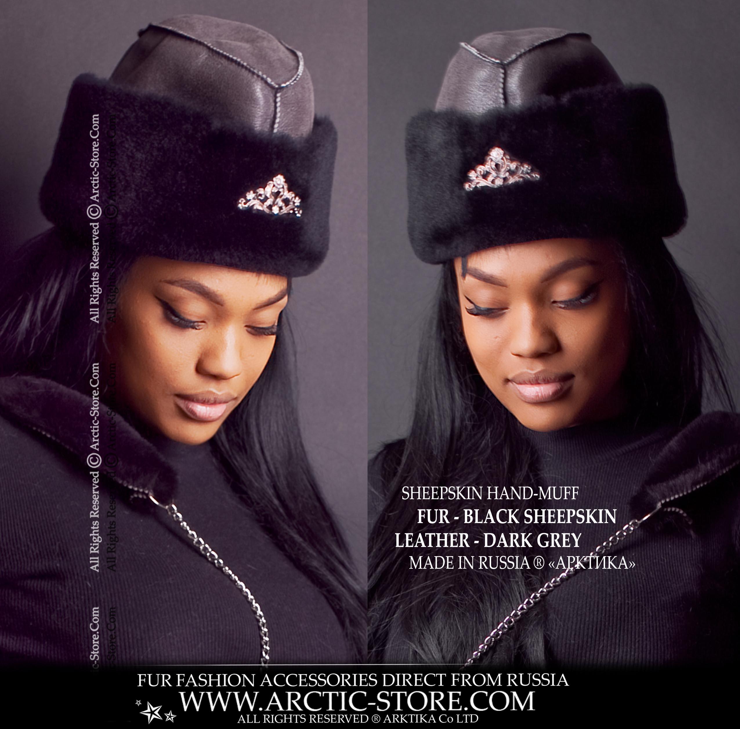 588c7f3f186 Sheepskin grey fur hat - ambassador style women s hat