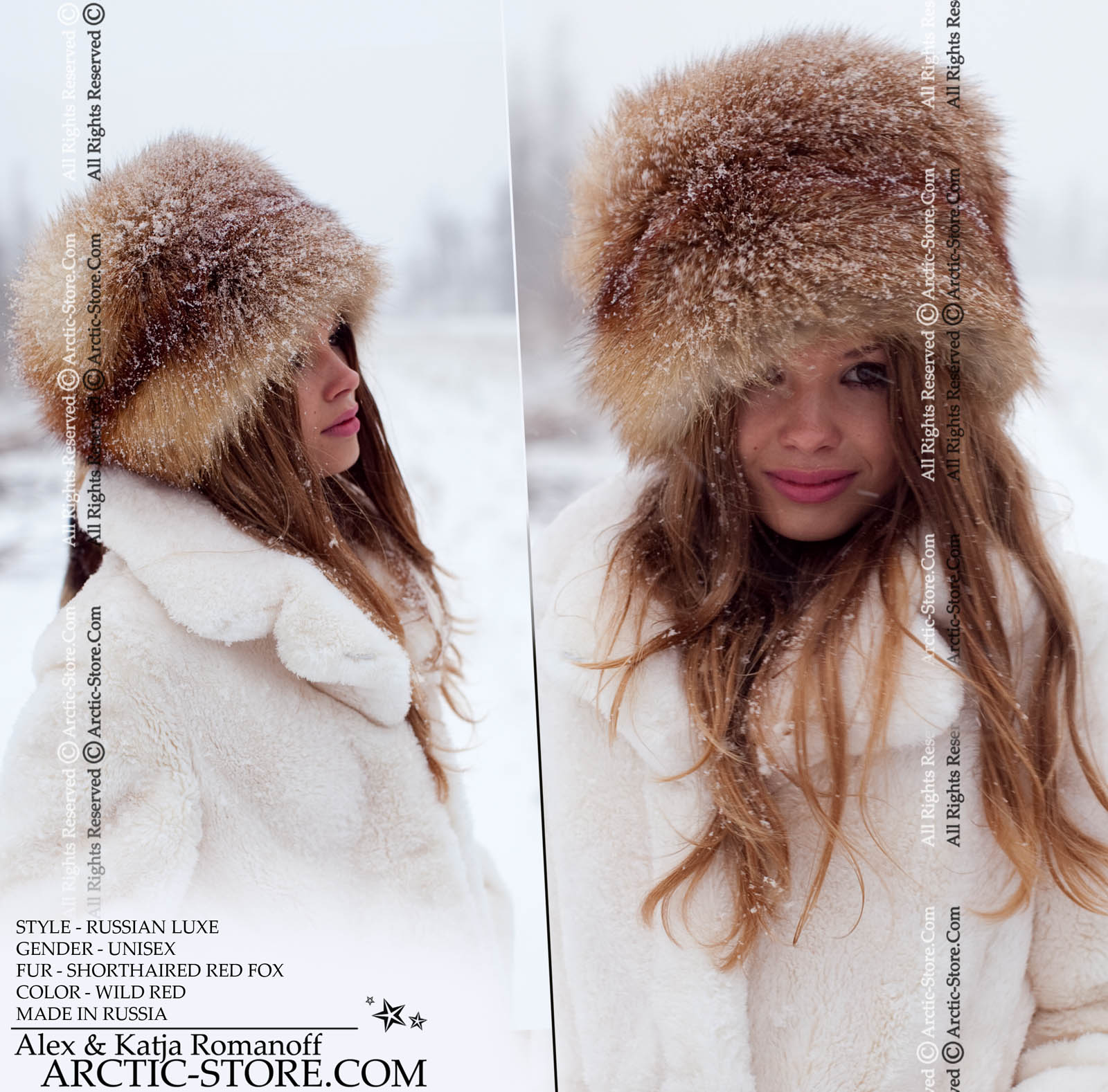 030544547a7 Luxe full fur hat - russian red fox shapka   arctic-store