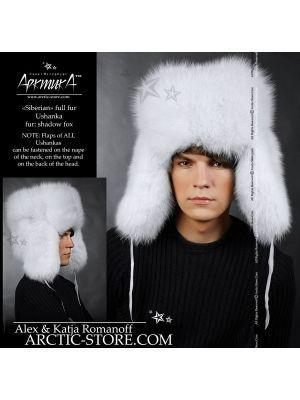 white fur men's ushanka - shadow fox hat for men