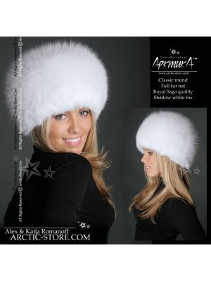 Shadow fox hat - white fur shapka - arctic store hat