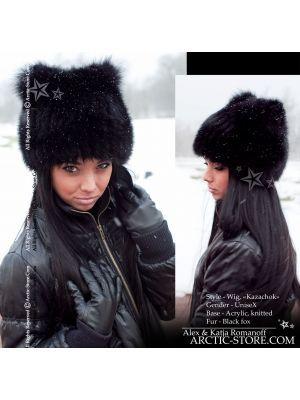 Black fox wig - Fur wig beanie for women