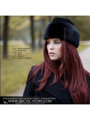 Ambassador black hat - Women's mink fur hat