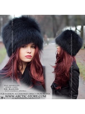 Black fox hat - Women's fur chapka - arctic-store