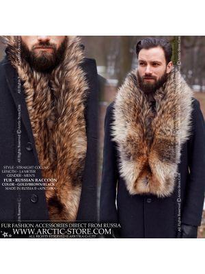 Men's fur stole - Russian raccoon collar - arctic-store