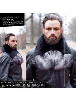 Men's detachable fur collar - black silver fox - arctic-store