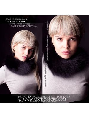 Fur choker - black fox neck collar - arctic-store