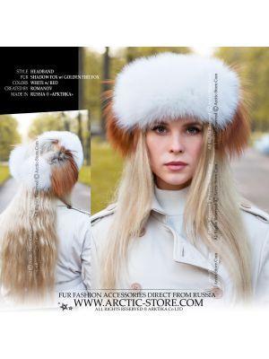 fashion fur headband - white gold fox headwrap
