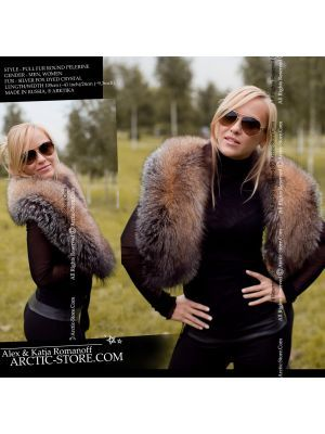 Ladies fur pelerine, crystal fox collar / arctic-store