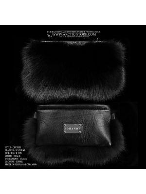 black fox purse - black fur clutch