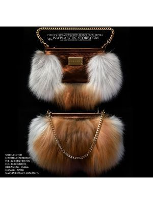 red fur purse - gold fox clutch - fox fur bag