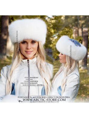 white fox fur set pavlovo posad - shadow fox hand-muff and hat