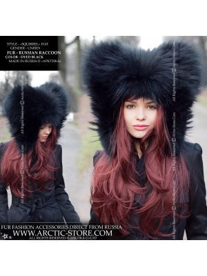 Squirrel fur hat - black raccoon hood - arctic-store