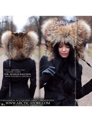 Squirrel fur hat - russian raccoon hood - arctic-store