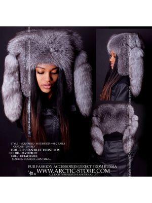 Fox fur hood - Blue frost hat - arctic-store