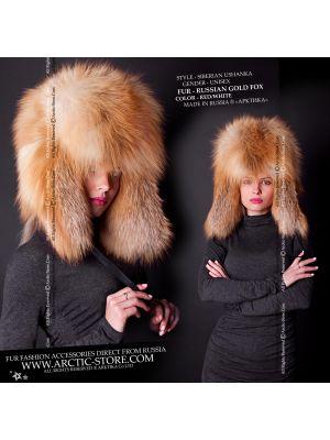 Ushanka gold fox - women's fur hat - arctic-store