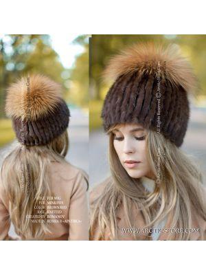 brown fur wig - women's winter beanie