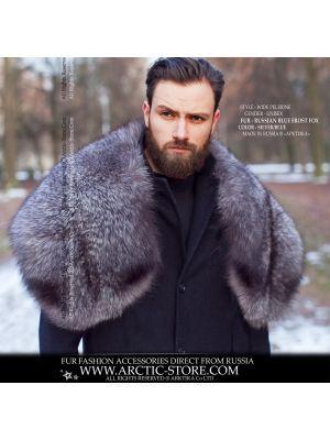 Men's fur pelerine - blue frost fox wrap - arctic-store