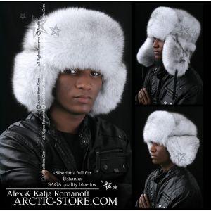 Siberian russian ushanka for men, blue fox full fur hat mountain chapka