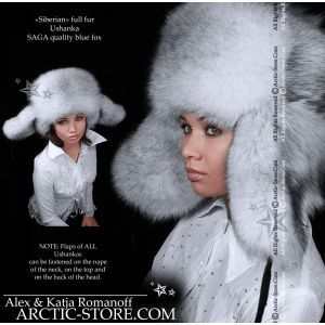 Siberian russian ushanka for women, blue fox full fur hat mountain chapka