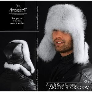 Men's trapper fur hat - blue fox / arctic-store