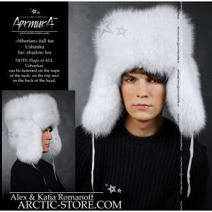 white fur men's ushanka - shadow fox hat for men