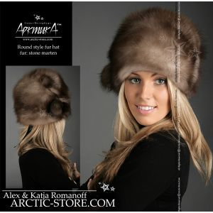 Classic Russian full fur hat - stone marten / arctic-store