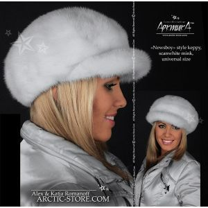 Women's winter white mink fur newsboy cap