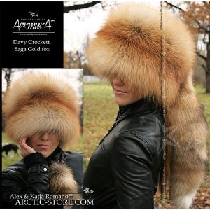 Fur hat with tail - gold fox shapka - arcticstore