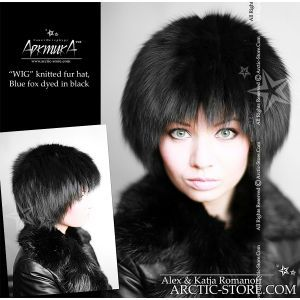 Fur wig hat black fox russian brand arktika