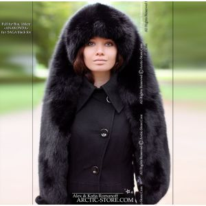 Long fur collar 63 inches - black fox / arctic-store