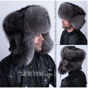 Siberian ushanka for men - grey fox fur hat