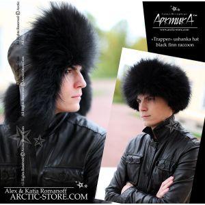 Trapper hat, black raccoon