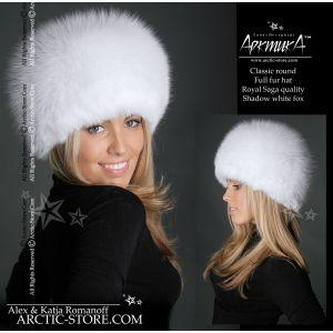 Shadow fox hat - white fur shapka - arctic store hat