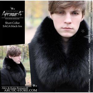 Fur collar mens 80cm - black fox / arctic-store