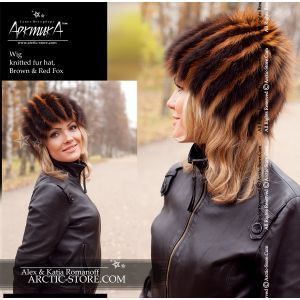 Fur wig, brown & red fox