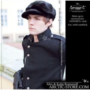 newsboy fur hat - black mink cap - arctic-store