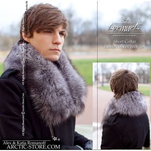 Men's Short Full Fur Collar, silver/grey fox
