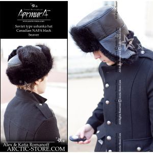 Naval officer fur hat - black beaver / arctic-store