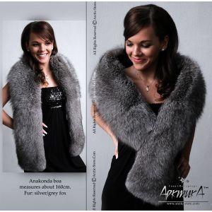 Grey fur stole -  fox boa / arctic-store
