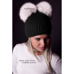 two white fur pom poms hat - real fur pom pom hat
