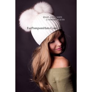 2 white fur pompoms beanie - fur pom pom hat