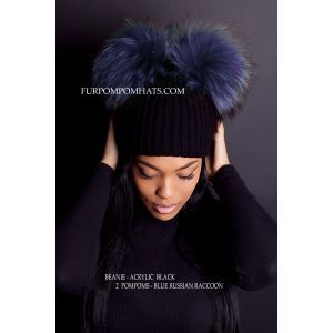 fur beanie - blue raccoon poms