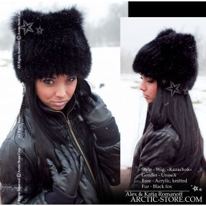 Black fox wig - Fur wig beanie for women