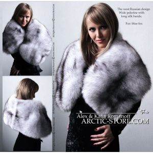 White fur cape - blue fox / arctic-store