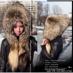 Eskimoska full fur hat with tails, finn ranched raccoon arktika arctic store