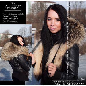 Eskimoska hood full fur hat with tails, finn ranched raccoon arktika arctic store