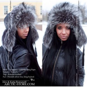 Trapper fur hat shapka ushanka, long-haired silver fox
