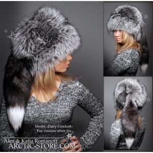 Davy Crockett fur hat - silver fox shapka with tail