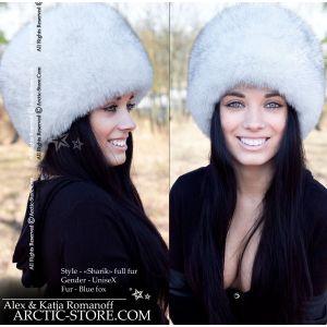 Russian women fur hat - white fox / arctic-store