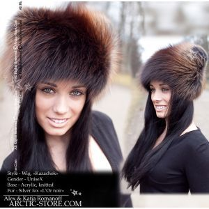 Fur wig hat - silver fox L'or noir beanie - arctic store